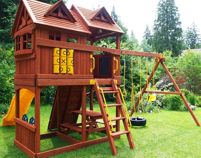 Детский деревянный домик для дачи своими руками фото